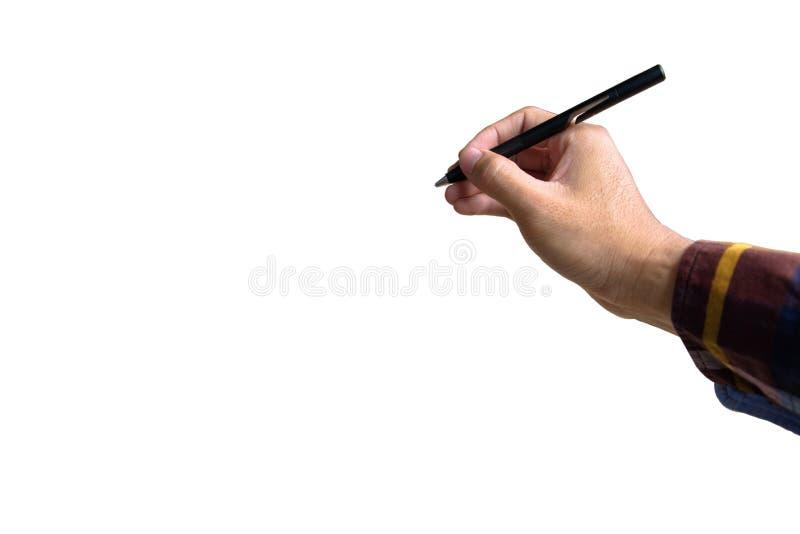 hand holding electronic pen on white royalty free stock image