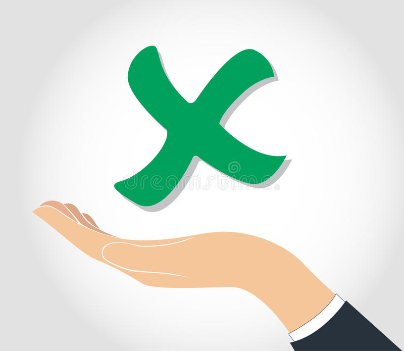 Hand holding false check icon symbol. EPS10 vector illustration