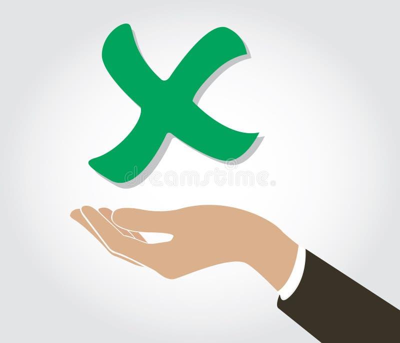 Hand holding false check icon symbol. EPS10 royalty free illustration