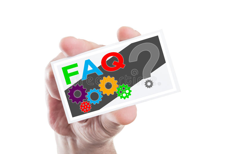 Download Hand Holding FAQ Or Frequently Asked Questions Card Stock Photo - Image of service, internet: 61825020
