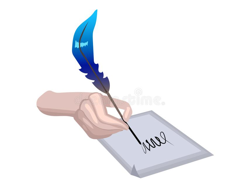 Hand holding a feather quill pen. And writing something with an ink on a paper royalty free illustration