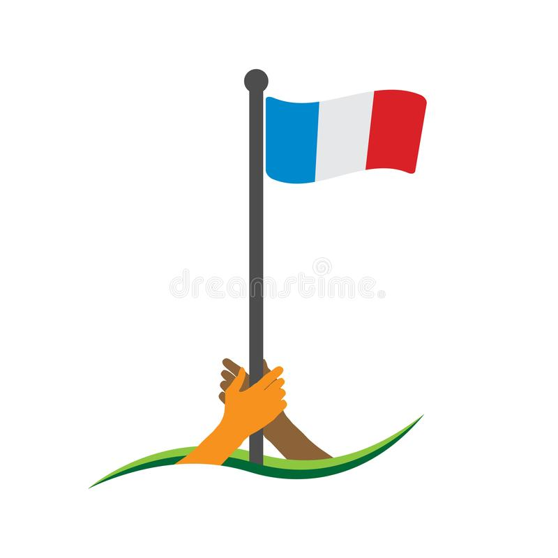 Hand holding the flag. France flag vector. The concept of holding from nationalism. stock illustration