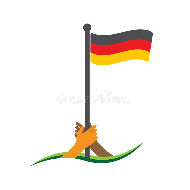 Hand holding the flag. German flag vector. The concept of holding from nationalism. stock illustration
