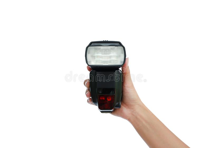Hand holding a flash light isolated on white background stock image