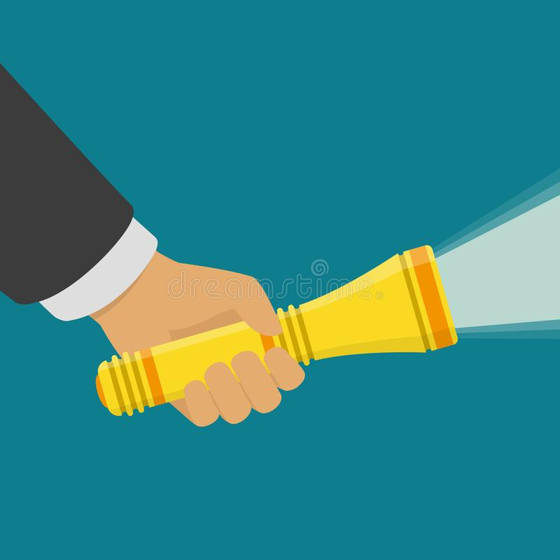 Hand holding flashlight. Hand holding flashlight with a beam of bright light, isolated on dark background. Search concept. Electric spotlight in hand. Vector vector illustration