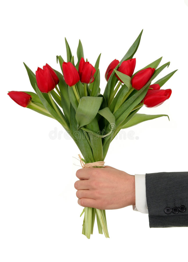 Hand Holding Flowers stock photos