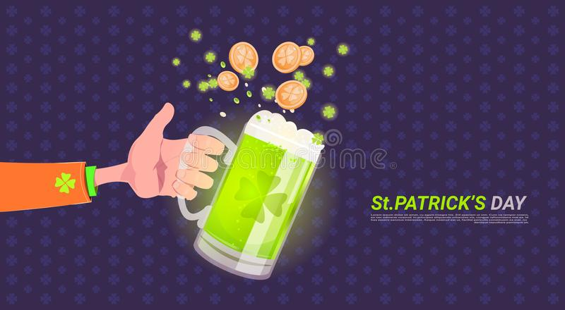 Hand Holding Glass Of Beer Over Happy St. Patricks Day Background stock illustration