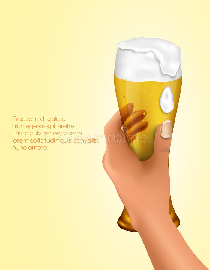 Hand holding a glass royalty free illustration