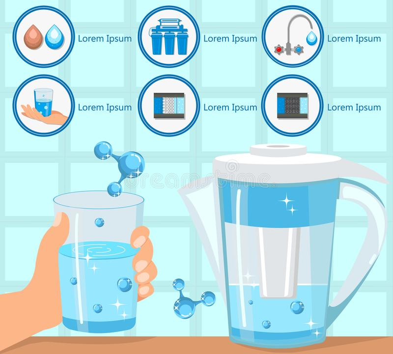 Hand Holding Glass Purified Water. Vector. royalty free illustration