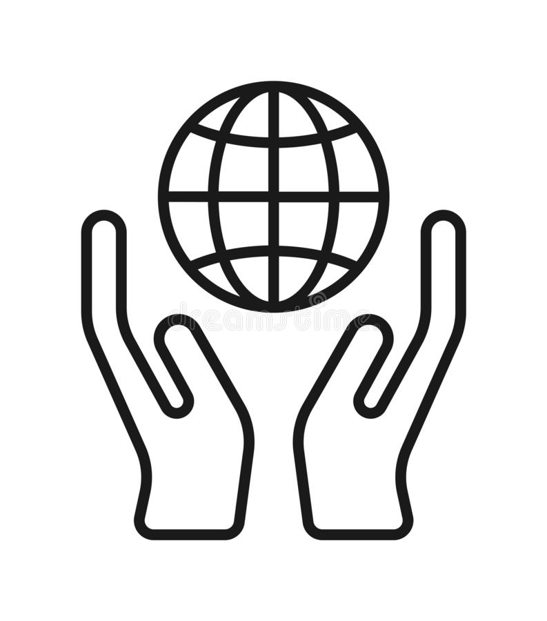 Hand with globe icon royalty free illustration