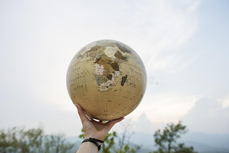 Hand Holding Globe World Location Concept. Hand Holding Globe World Location stock photography