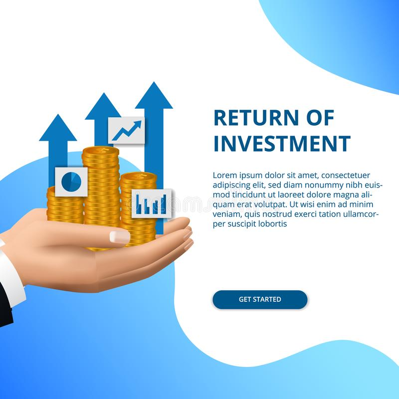 Return of investment concept business finance growth arrow success royalty free illustration