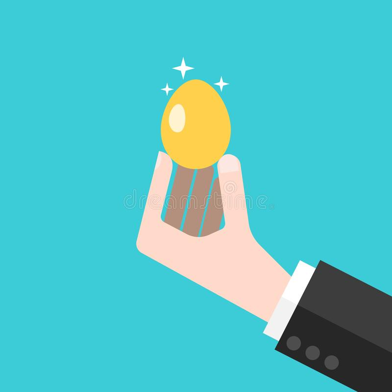 Hand holding gold egg. Hand of businessman holding shiny gold egg on turquoise blue background. Wealth, investment, profit and luck concept. Flat design. Vector royalty free illustration