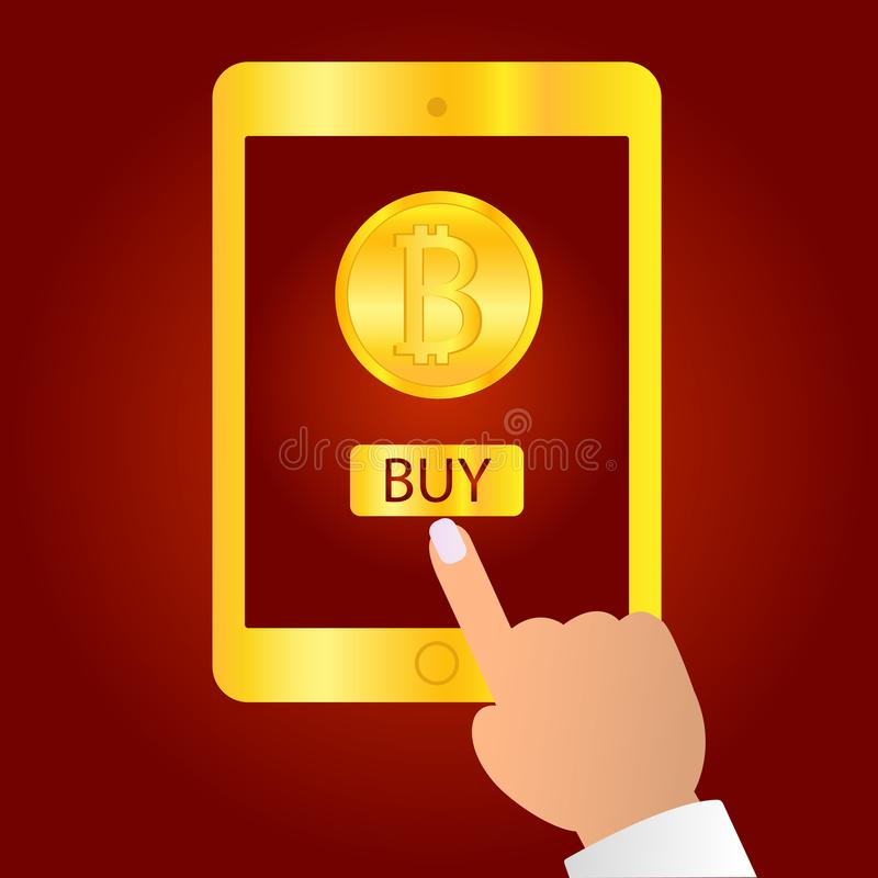 Hand holding gold tablet device isolated on red background. Tablet on human hands with bitcoin icon and index finger stock illustration