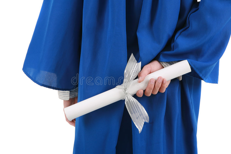 Hand Holding Graduation Certificate Behind Back Royalty Free Stock Photo
