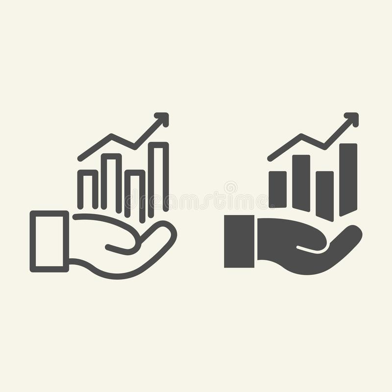 Hand holding graph line and glyph icon. Growth chart in palm vector illustration isolated on white. Management outline stock illustration