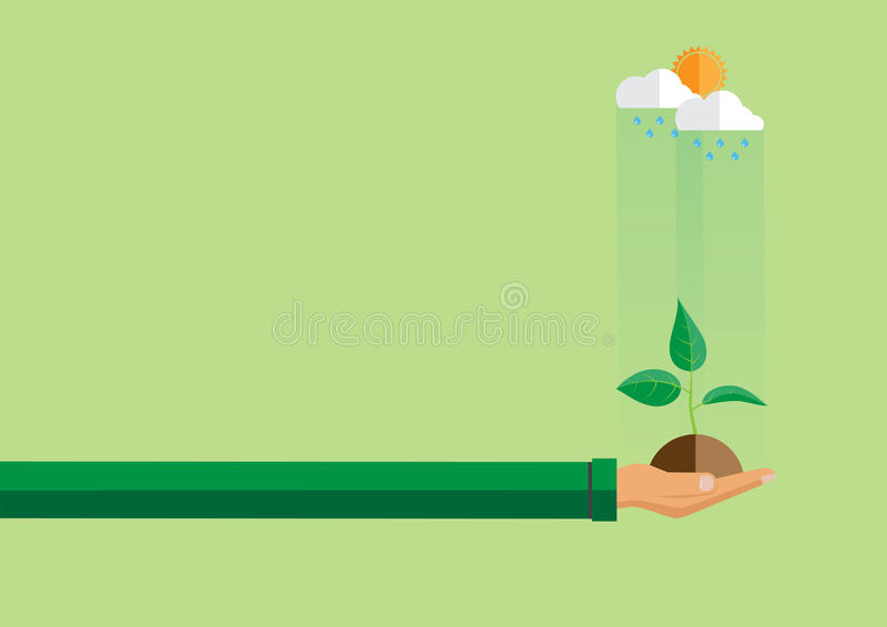Hand holding green plant in flat style. vector illustration