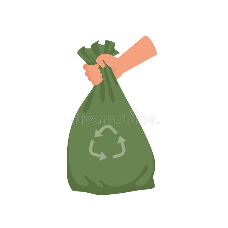 Hand holding green plastic trash bag, garbage recycling and utilization vector Illustration on a white background. Hand holding green plastic trash bag, garbage stock illustration