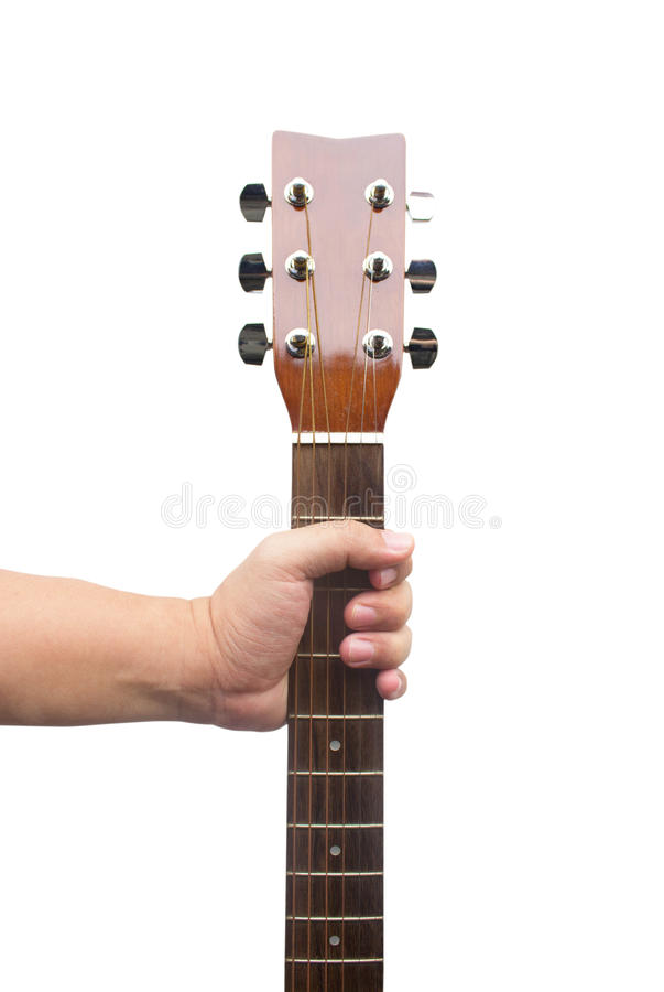Hand Holding Guitar royalty free stock photography