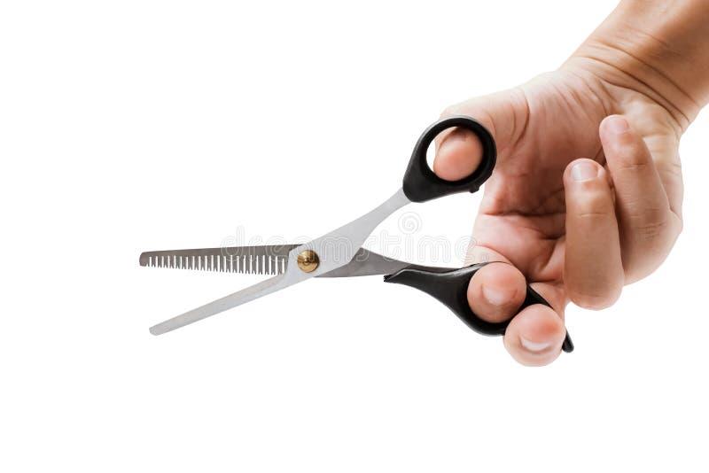 Hand holding hair scissors on white royalty free stock photo