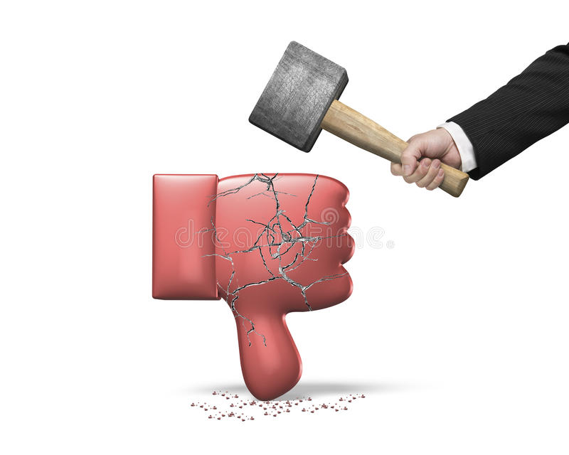 Hand holding hammer hitting red thumb down with cracks. Hand holding hammer hitting red 3D thumb down with cracks, isolated on white background stock photos