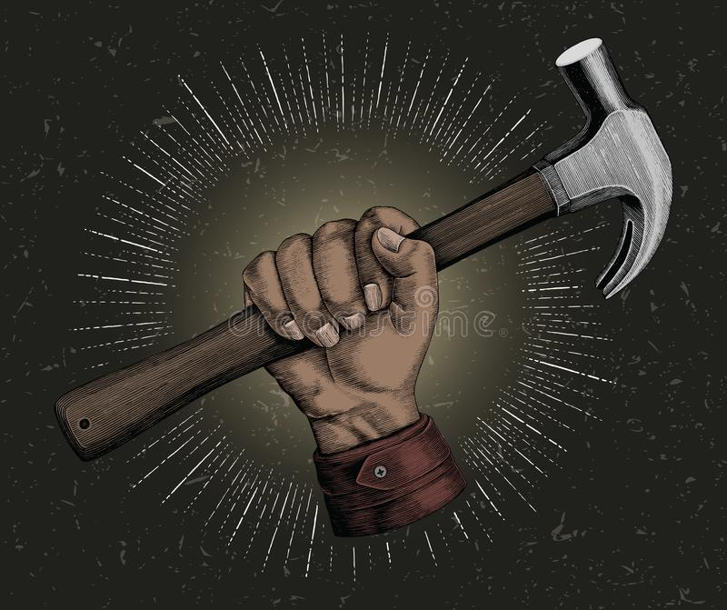 Hand holding hammer illustration vintage clip art for carpenter royalty free illustration