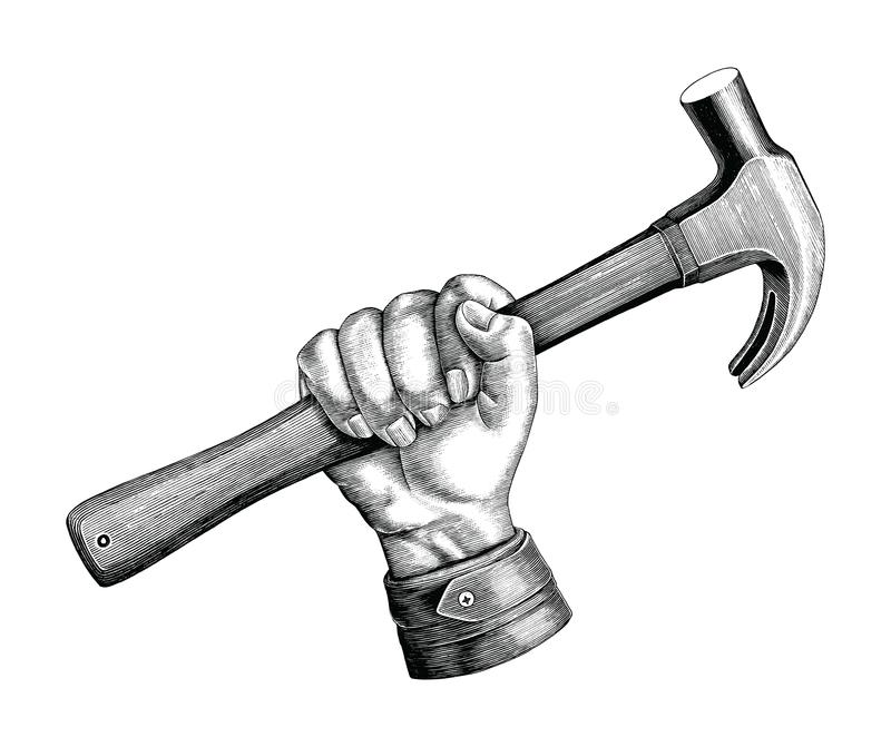 Hand holding hammer illustration vintage clip art for carpenter stock illustration
