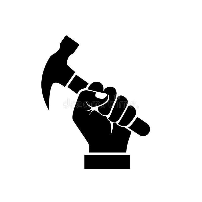 Vector Illustration Hammer: Hand Holding Hammer Silhouette Stock Vector