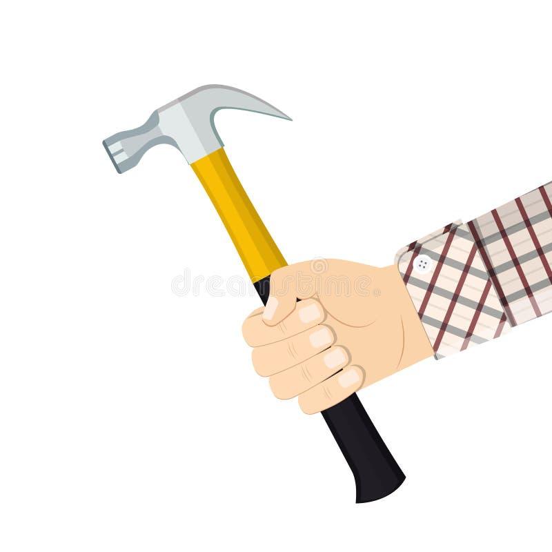 Hand holding hammer stock illustration