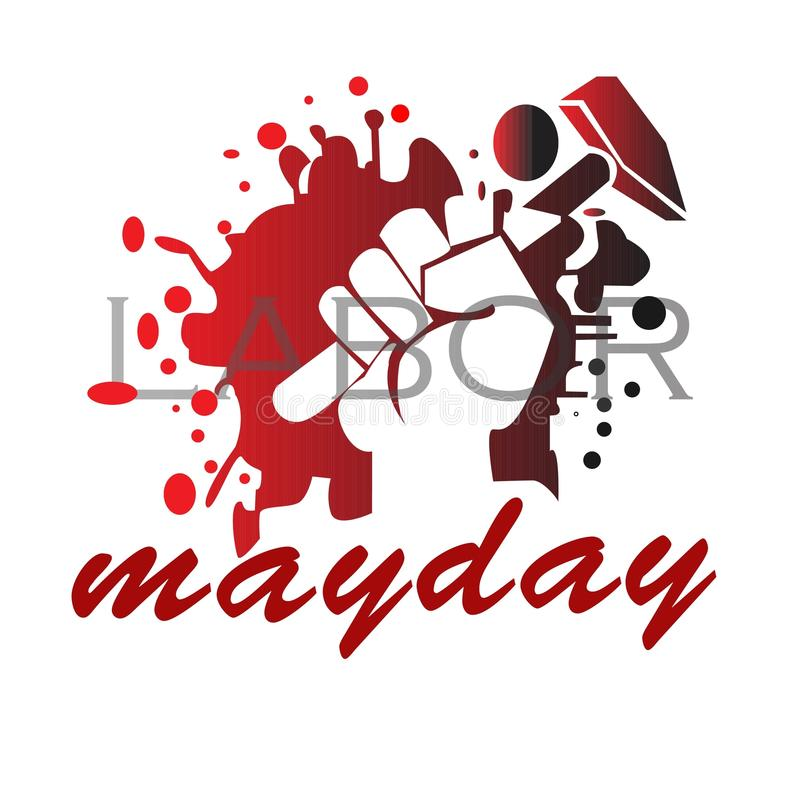 Hand holding a Hammer for the mayday celebration royalty free stock photo
