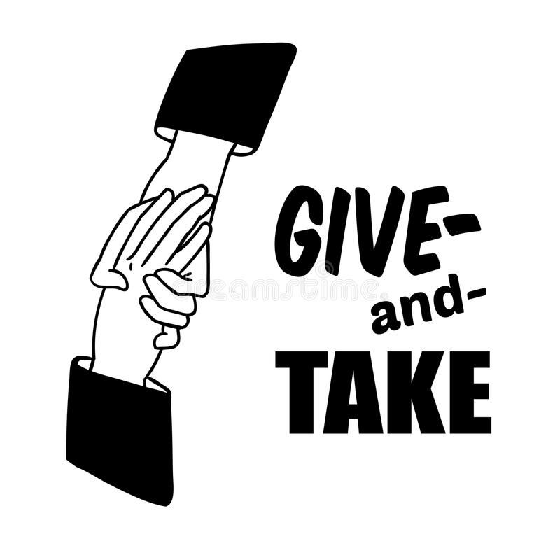 Hand holding hand for help and hope icon vector handshake support give and take royalty free illustration