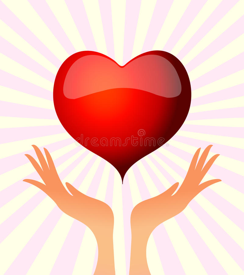 Download Hand holding heart stock vector. Image of heart, careful - 21064128