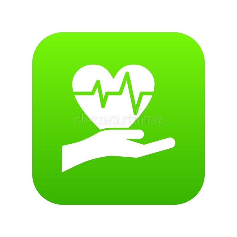 Hand holding heart with ecg line icon digital green. For any design isolated on white vector illustration stock illustration