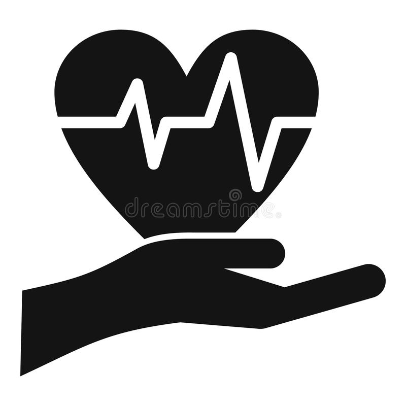 Hand holding heart with ecg line icon simple style. Hand holding heart with ecg line icon. Simple illustration of hand holding heart vector icon for web stock illustration