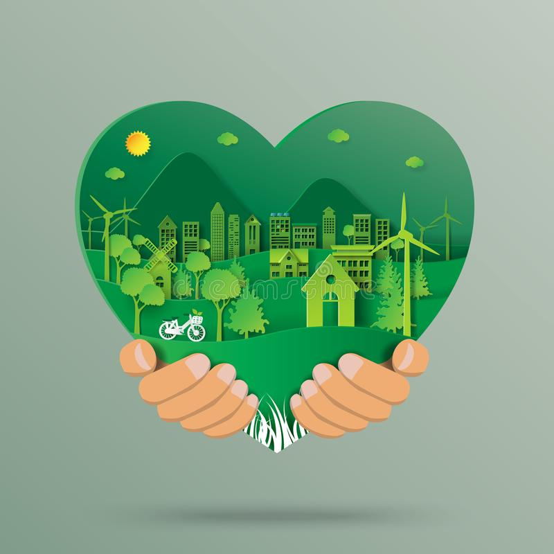 Hand holding heart shape with environment paper art style royalty free illustration