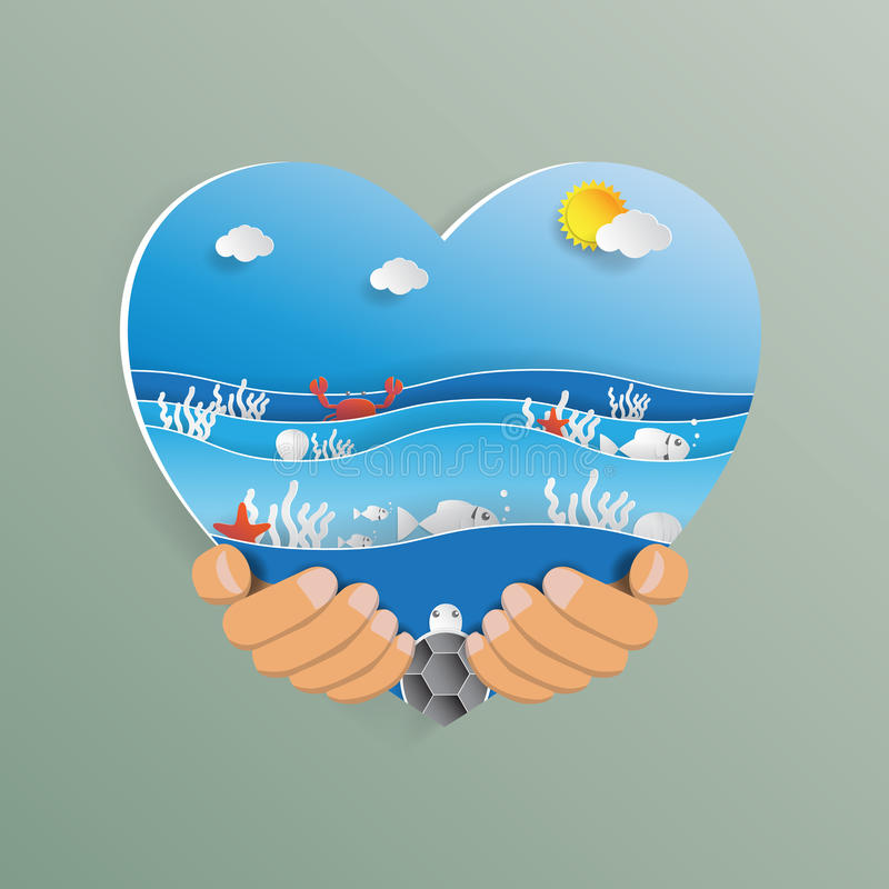 Hand holding heart shape with ocean wave paper art style. stock illustration