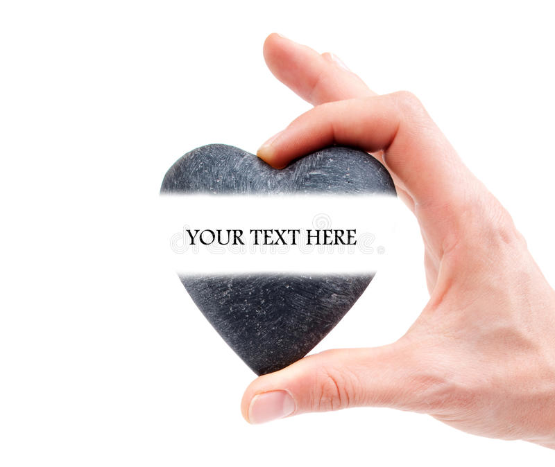 Hand holding heart with space for text royalty free stock image