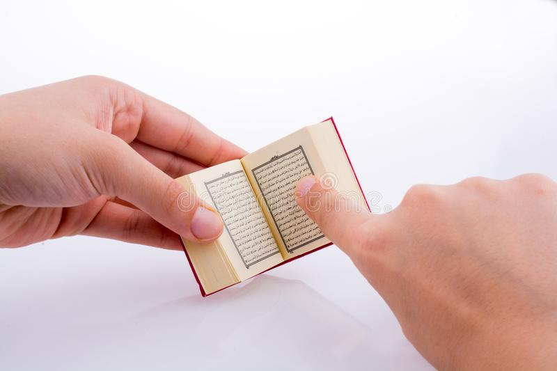 The Holy Quran. Hand holding The Holy Quran on a white background stock photos