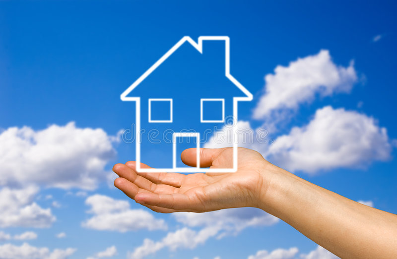 Hand holding a home stock images