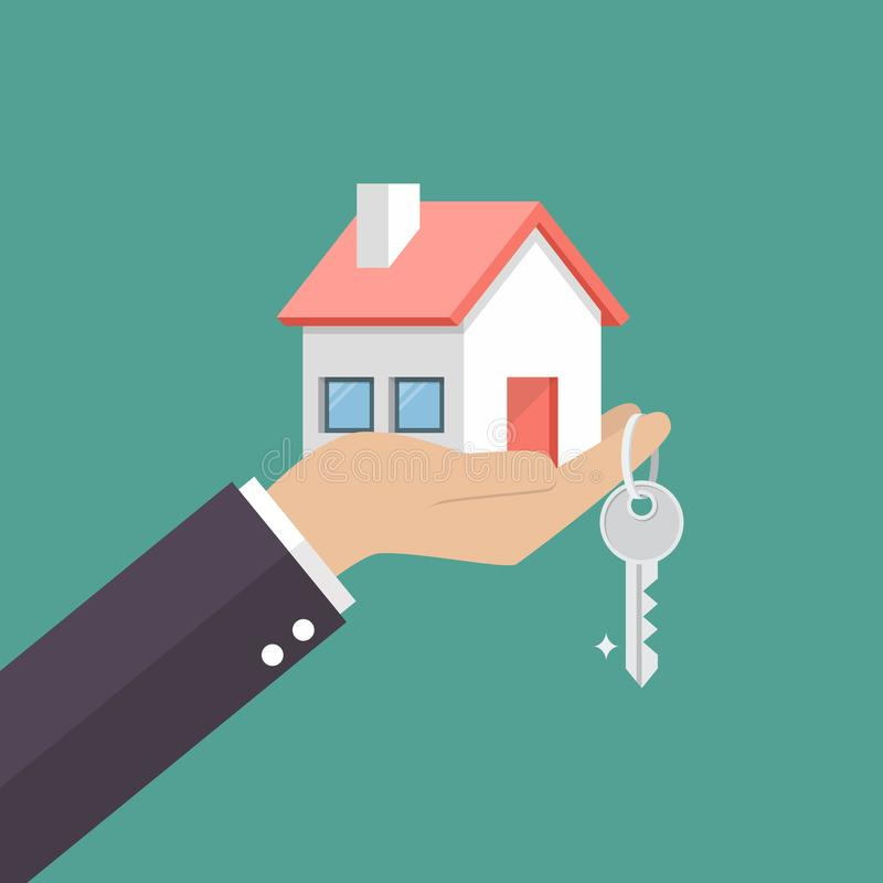 Free Hand Holding Home In Palm And Key On Finger Royalty Free Stock Images - 110897489