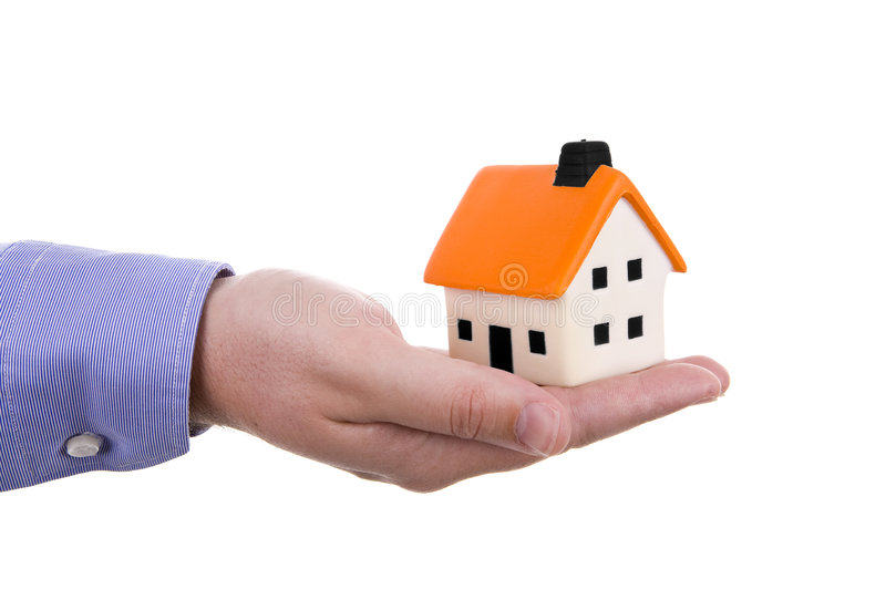 Hand holding a house stock images