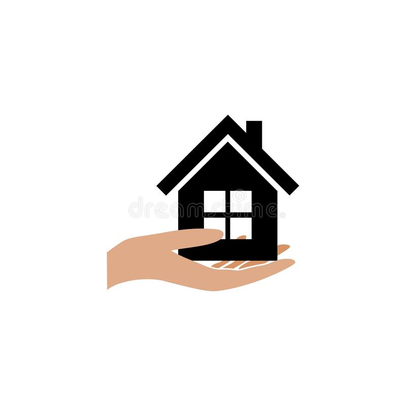 Hand holding house, House for sale, Buy new house icon vector illustration