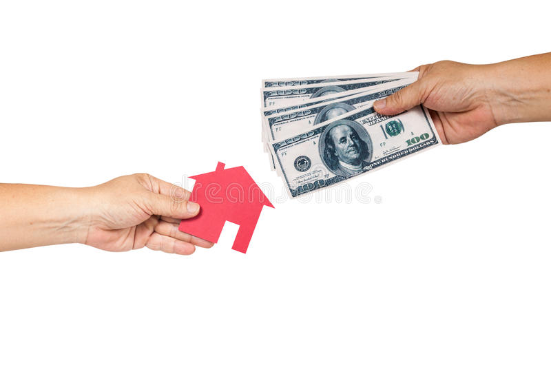 Hand holding house representing home ownership royalty free stock photography
