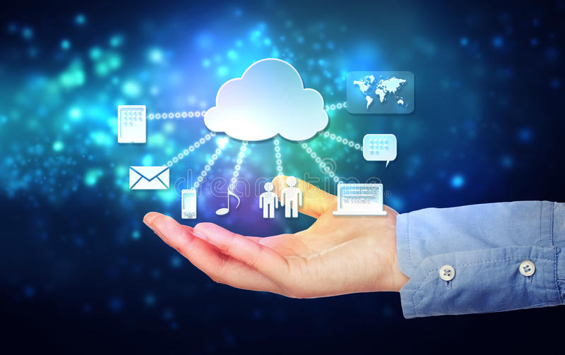 Hand Holding Hovering Cloud Computing Concept Stock Image