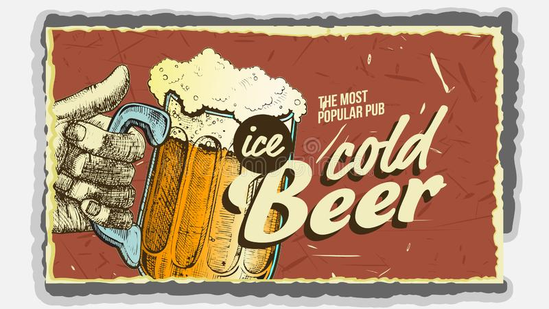 Hand Holding Ice Cold Foamy Beer Glass Vector royalty free illustration