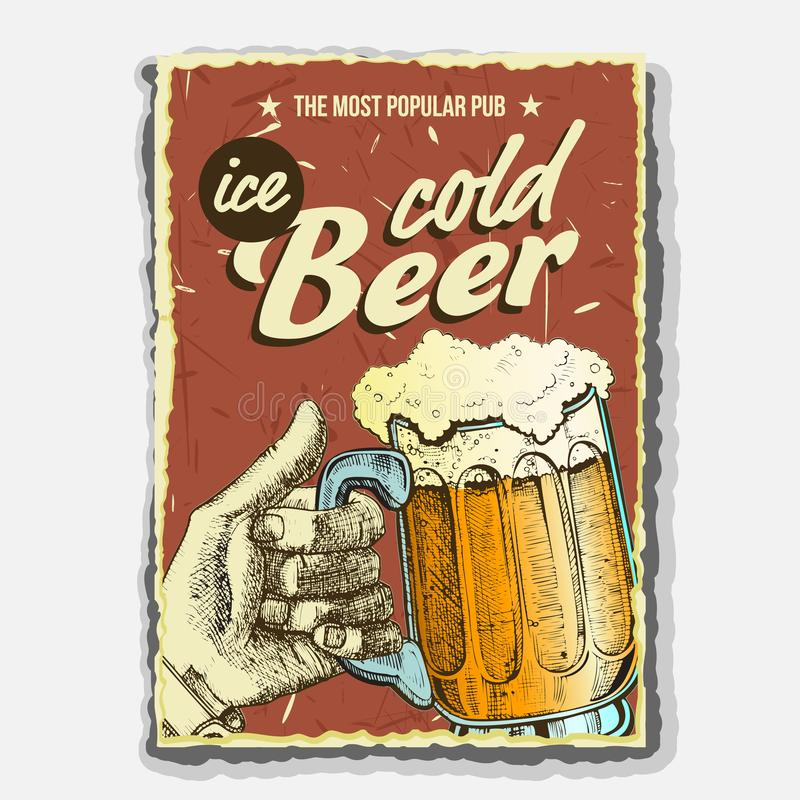 Hand Holding Ice Cold Foamy Beer Glass Vector. Full Cup With Alcohol Drink Beer On Promotional Poster In Retro Style And Grunge Textures Of Popular Pub stock illustration