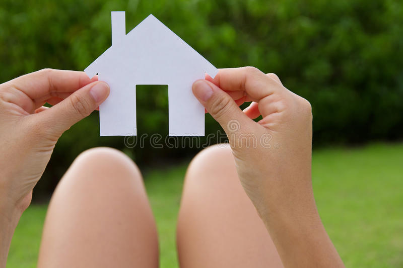Hand holding icon house stock images