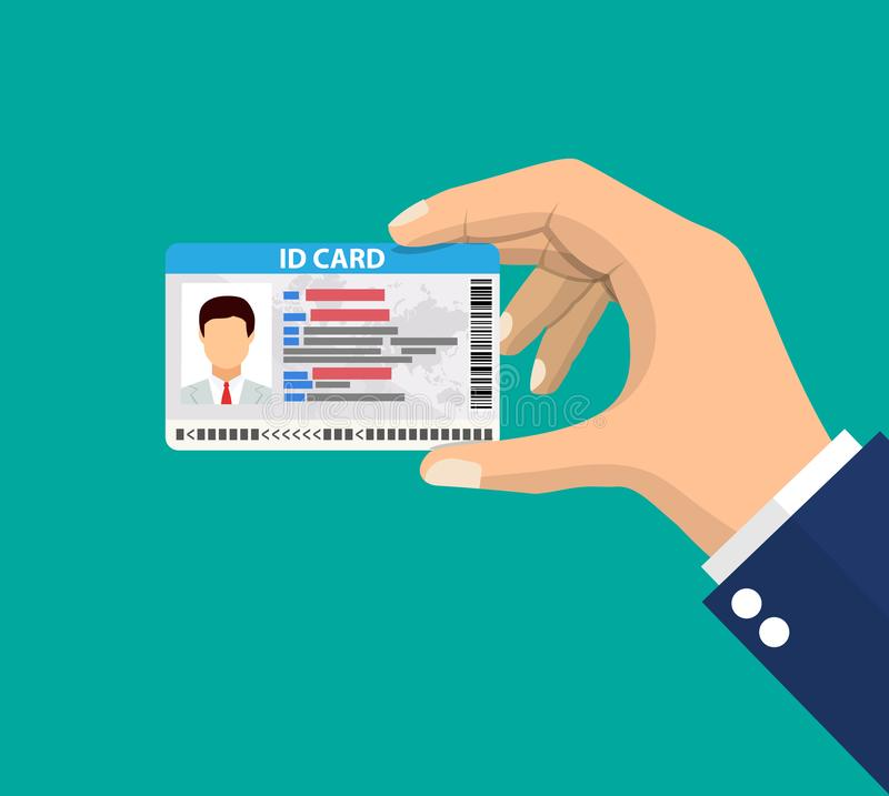 Hand holding the id card. stock illustration