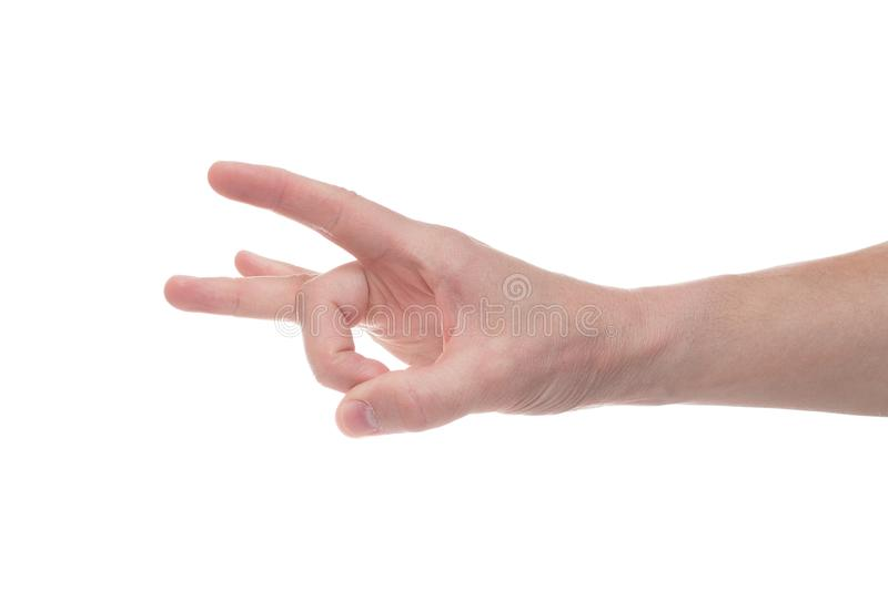 Hand holding invisible item. Signs concept royalty free stock image