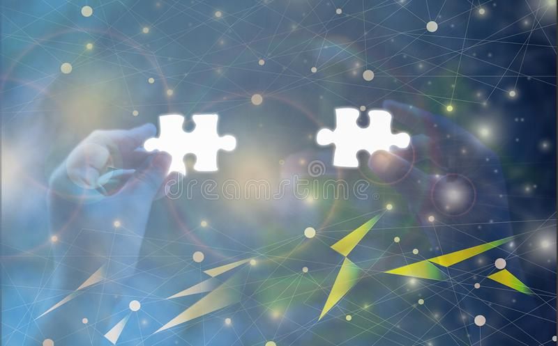 Hand holding Jigsaw puzzle piece glowing white glow piece, Abstract concept business success and goals and corporate strategy, vector illustration
